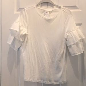 H&M cream ruffle sleeve T-shirt size xs